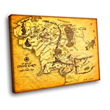 H5D7737 The Lord of the Rings Middle-Earth Map Movie 20x16 FRAMED CANVAS PRINT