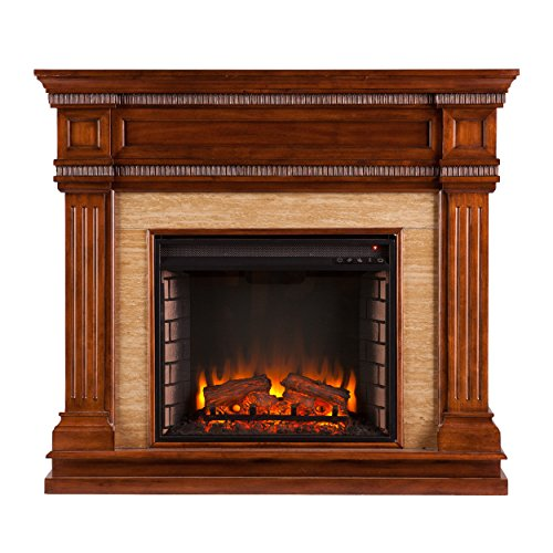 Best Buy Southern Enterprises AZ7169EF Faircrest Stone Look Electric Fireplace Oak Saddle Finish Reviews