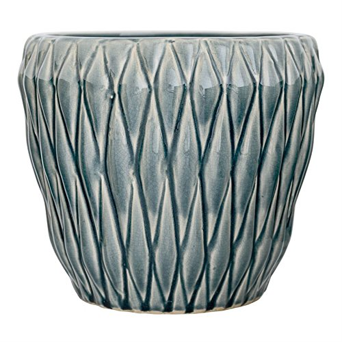 (Bloomingville A27122070 Large Blue Ceramic Flower Pot with Diamond)