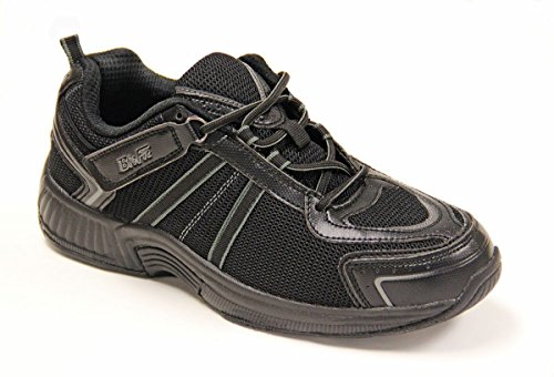 Orthofeet Monterey Bay Confort Diabétique Large Arthrite Orthèse Mens Sneakers Velcro Noir