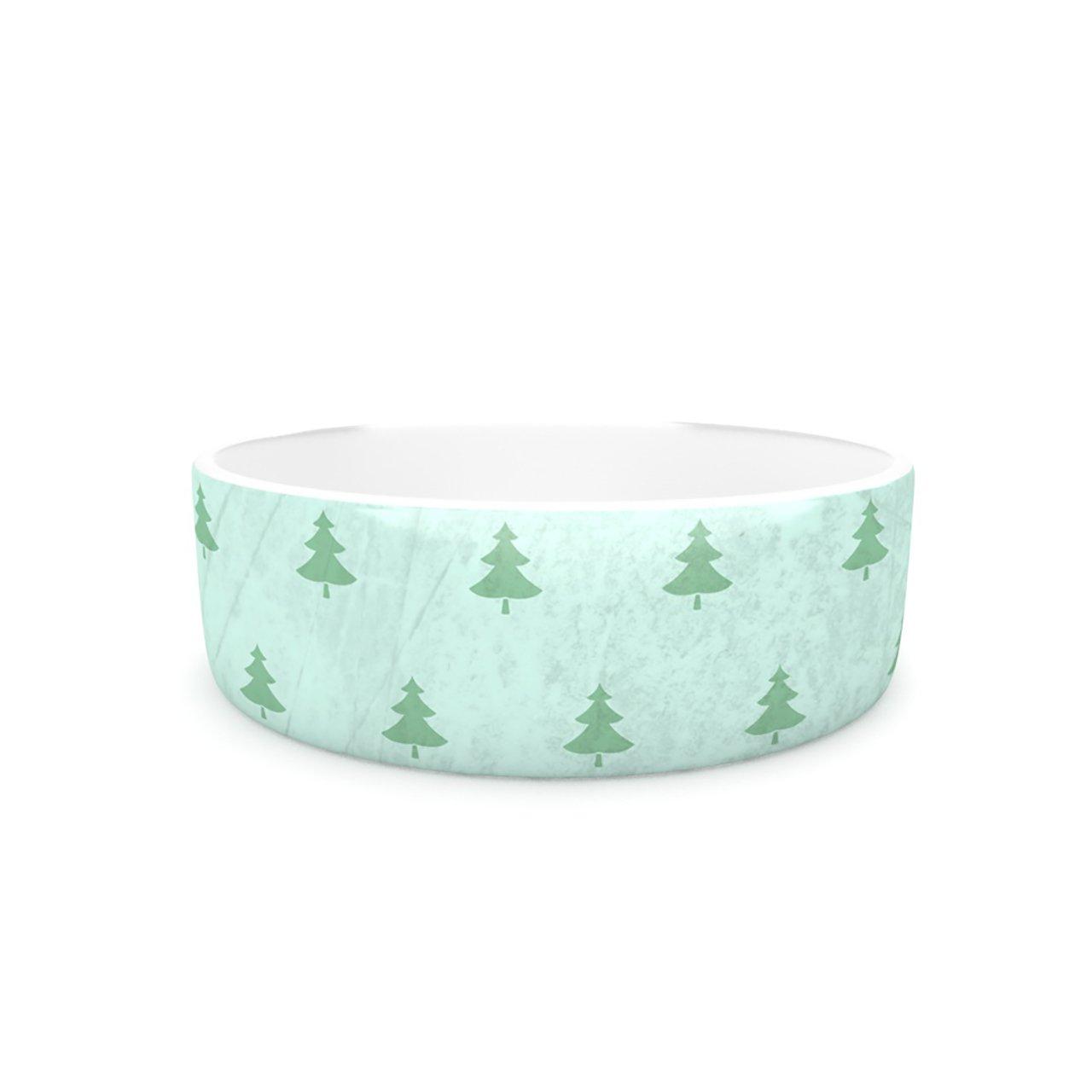 Kess InHouse Snap Studio Pine Pattern Green  Pet Bowl, 7-Inch, Teal