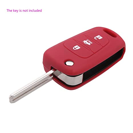 artans £ ¨ TM) hoja sin cortar llave del coche carcasa de silicona plegable, incluye mando a distancia leontina 3 Botón para Kia K2 K5 Pro Ceed llave ...