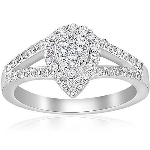 1/2ct Pear Shape Diamond Halo Cluster Engagement Ring 10K White Gold - Size 6.5 ()