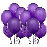AnnoDeel 100 Pcs 10 Latex Purple Balloons Pure Pearl Helium Wedding Decorations Birthday Party