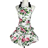 Hense 100% Cutton Rose Printed Kitchen Apron for