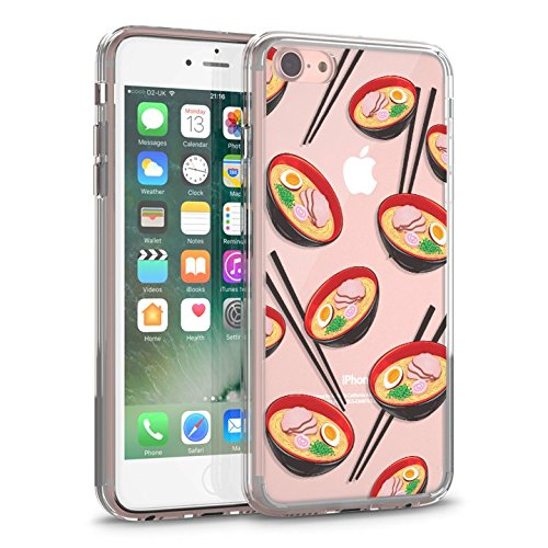 Price comparison product image iPhone 7 Case,  iPhone 8 Clear Case,  CASESOCIETY Ramen Dim Sum Noodles Clear Design Transparent Plastic Hard Back Case with TPU Bumper Rubber Protective Case Cover for iPhone 7 (4.7 Inch)