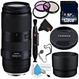 Tamron 100-400mm f/4.5-6.3 Di VC USD Lens for Canon EF AFA035C-700 (International Model) + 72mm 3 Piece Filter Kit + 128GB SDXC Class 10 Memory Card + Deluxe Cleaning Kit + Lens Cap Keeper Bundle