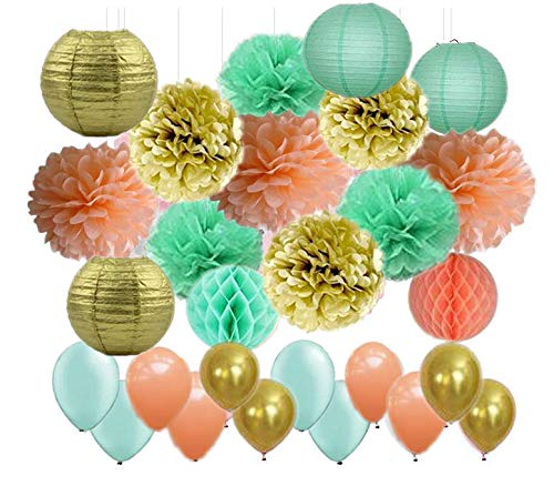 45Pcs Party Decor Mint Green Peach Gold Paper Lanterns Paper Honeycomb Balls Tissue Paper Pom Poms and Latex Balloon for Wedding Baby Shower Bridal Shower Birthday Party Decoration -