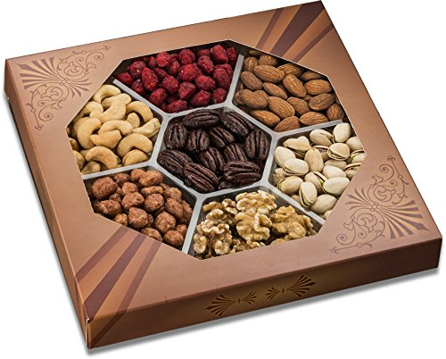 Freshly Roasted 7 Mixed Nuts Gift Tray | Healthy & Gourmet Snacks, Almonds, Pistachios, Cashews, Walnuts, Sugar Roasted Peanuts, Honey Glazed Pecans & Honey Glazed Peanuts