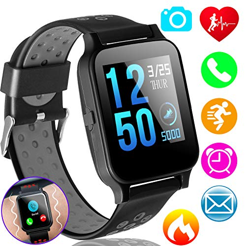 Fitness Tracker Smart Watch Phone with Heart Rate Blood Pressure Monitor for Kids Women Man Activity Tracker 1.55″ IPS Color Screen Pedometer Smart Bracelet Sync Phone Calls SMS Compatible iOS Android