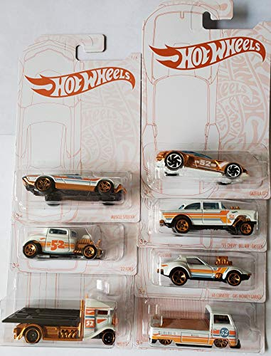 Hot Wheels 2020 Pearl and Chrome Muscle Speeder, '32 Ford, Fast-Bed Hauler, '55 Chevy Bel Air Gasser, '68 Corvette Gas Monkey Garage, Volkswagen T2 Pickup, Gazella GT (Chase) - Complete Set of 7!