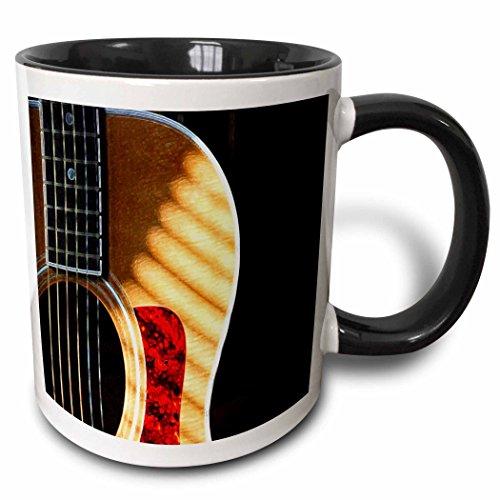 Acoustic Guitar Mug (3dRose 3dRose Digitally Painted Acoustic Guitar In Shadow - Two Tone Black Mug, 11oz (mug_62245_4), , Black/White)