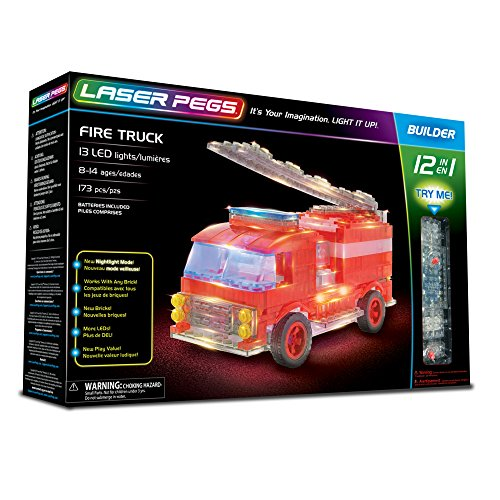 (Laser Pegs Fire Truck 12-in-1 Building Set Building Kit; The First Lighted Construction Toy to Ignite Your Child's Creativity; It's Your Imagination, Light It Up)