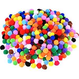 Blulu Pompoms for Craft Making and Hobby Supplies, 500 Pieces, 1.2 cm/ 0.5 Inch, Assorted Colors