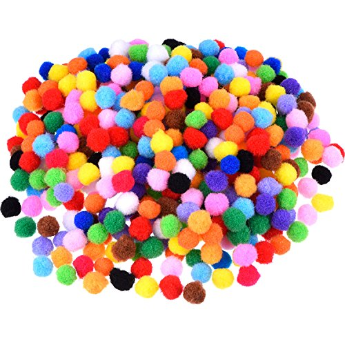 Blulu Pompoms for Craft Making and Hobby Supplies, 500 Pieces, 1.2 cm/ 0.5 Inch, Assorted Colors -