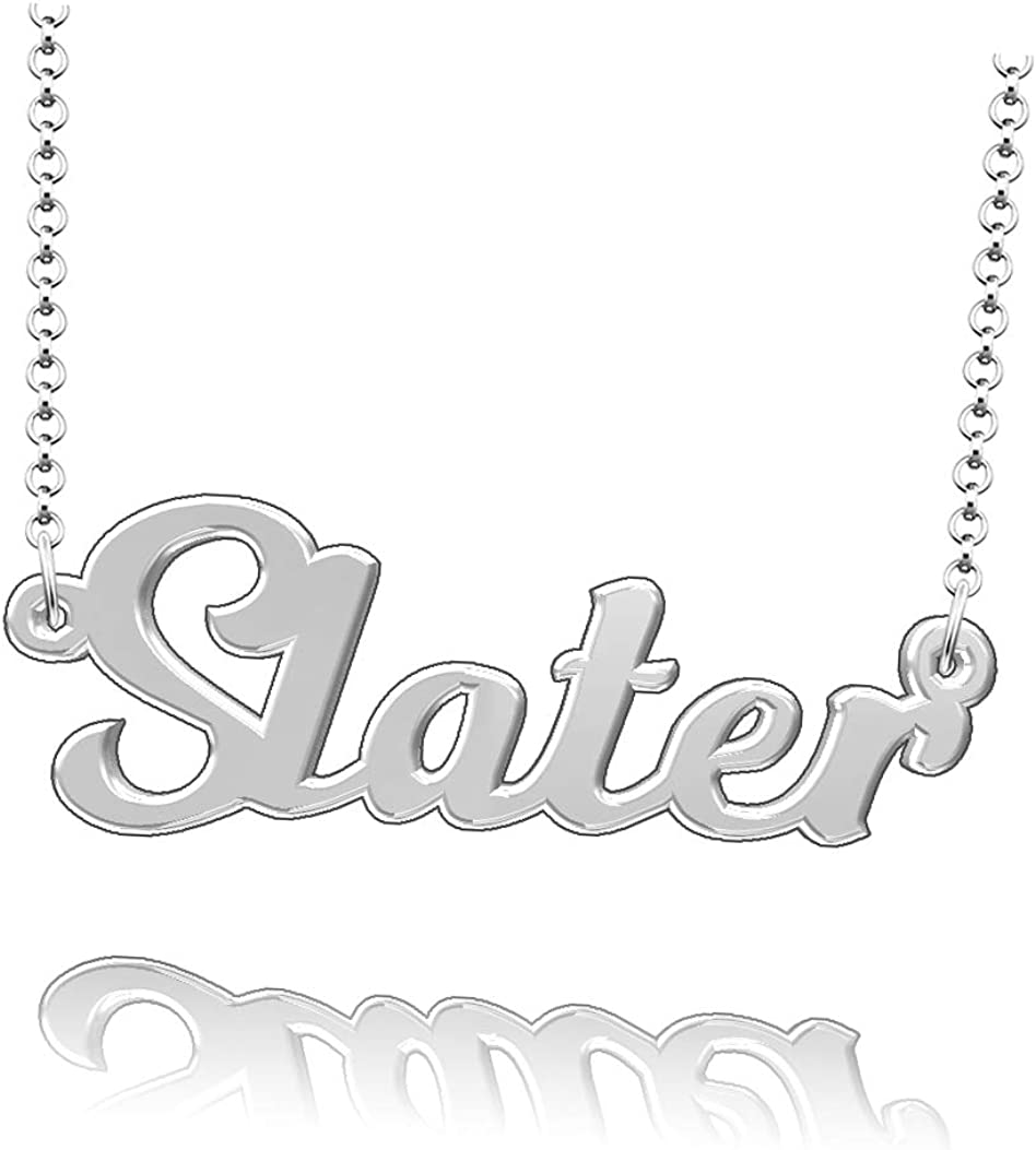 LoEnMe Jewelry Personalized Slater Name Necklace Stainless Steel Plated Custom Made of Last Name Gift for Family