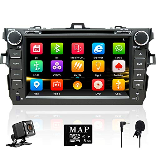 NVGOTEV Car Audio Stereo Headunit Fits for Toyota Corolla 2007 2008 2009 2010 2011 DVD Player Radio 8 Inch HD Touch Screen GPS Navigation with Bluetooth Steering Wheel Control 16GB Map Card (Toyota Cd)
