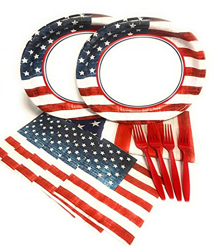 Rustic Patriotic July 4th Red White and Blue Wood Grain Flag Party Supply Bundle for 24 Guests - Includes Platters, Napkins, Forks and Tablecover