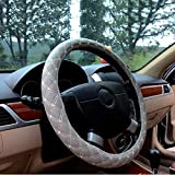 Lqqfxp Steering Wheel Cover Automotive Universal Fit PU Leather Steering Wheel Cover Anti Slip Stitch On Wrap Cover Fits Most Car Wheels,Diameter:37-38 cm (Color : E)