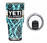 : YETI Coolers 30 Ounce (30oz) (30 oz) Custom Rambler Tumbler Cup Mug with Exclusive Spill Resistant Lid (Dipped Teal Damask)