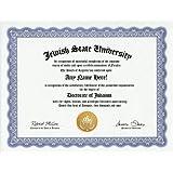 Jewish Judaism Degree: Custom Gag Diploma Doctorate Certificate (Funny Customized Joke Gift - Novelty Item)