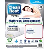 Clean Rest Pro Waterproof, Allergy and Bed Bug Blocking Mattress Encasement, Queen