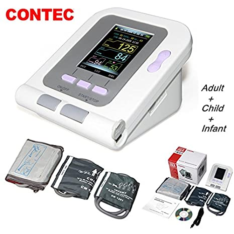 Amazon.com: CONTEC 08A FDA Approved Fully Automatic Digital Upper Arm Blood Pressure Monitor Adult, Child, Pediatric Modes & Cuffs(3 Cuffs): Health ...
