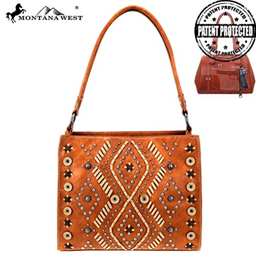 - Montana West Womens Concealed Carry Hobo Purse Aztec Collection Tribal Stitch Pattern MW767G-121 Brown