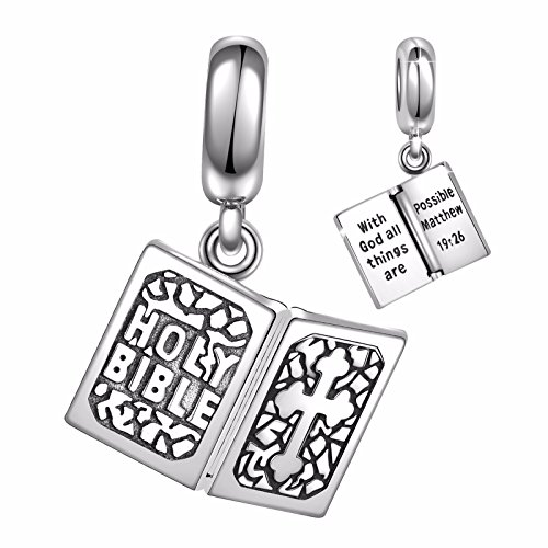 925 Sterling Silver Holy Bible Dangle Charms Bead for European Snake Chain (Holy Bible Charm Jewelry)