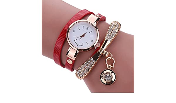 Amazon.com: Women Luxury Crystal Women Bracelet Quartz Bling Wristwatch Rhinestone Clock Ladies Dress Gift Watches ~ Reloj de Mujer de Moda (Red / Rojo): ...