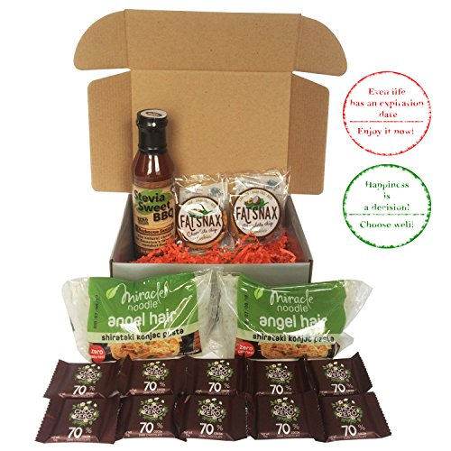 | Spicy Stevia Sweet BBQ Sauce + FatSnax Chocolate Chip Cookies + Miracle Noodles Angel Hair + ChocZero Dark Chocolate Snacks Bundle | Paleo Diet Sweets And Treats ()