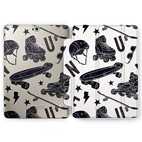 Wonder Wild Skate Rollers Samsung Galaxy Tab S4 S2 S3 A E Smart Stand Case 2015 2016 2017 2018 Tablet Cover 8 9.6 9.7 10 10.1 10.5 Inch Clear Design Urban Sport Street Riders Teenager Speed Stunt Fun