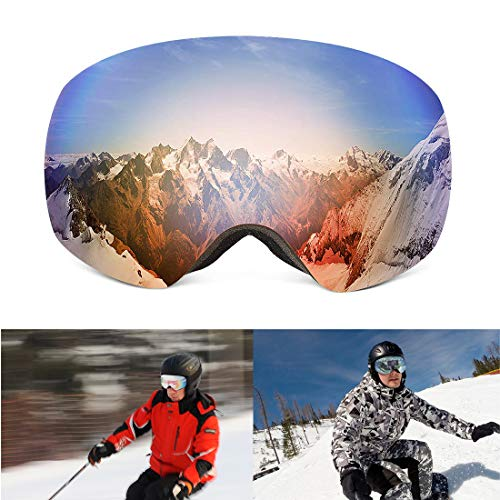 kemimoto Ski Snowboard Goggles Men Women Over Glasses Winter Anti-Fog 100% UV Protection Windproof for Youth Snow Snowboarding Skiing Outdoors