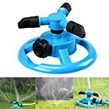 Leagway Lawn Sprinkler, Adjustable 360 Degree Automatic Rotation Water Sprinkler Covering Large Area Irrigation System For Garden Greenhouse, Plant Watering Gardening Supplies 3 Arm Water Sprayer