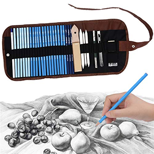 (33 Pieces Sketch Pencils Set Professional Art Graphite & Charcoal Drawing Pencils Kit with Canvas Rolling Pouch for Student & Artist Shading, Sketching and Drawing)