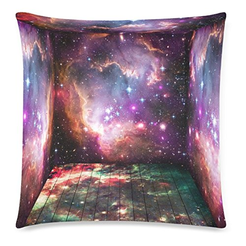 InterestPrint Amazing Universe Galaxy Space Zippered Cushion Pillowcase 18 x 18 ( Twin Sides ) - Room with Colorful Space Universe Shining Stars Pillow Cases Cover Set Shams Decorative for Couch Bed