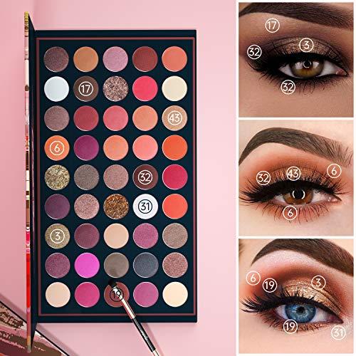 EYESEEK Matte Eyeshadow Palette Makeup Brushes Set 45 Shades Shimmer Smoky Glitter Eyeshadow Pallet High Pigmented Metallic Makeup Palette Long Lasting Waterproof Eye Shadow #Brown