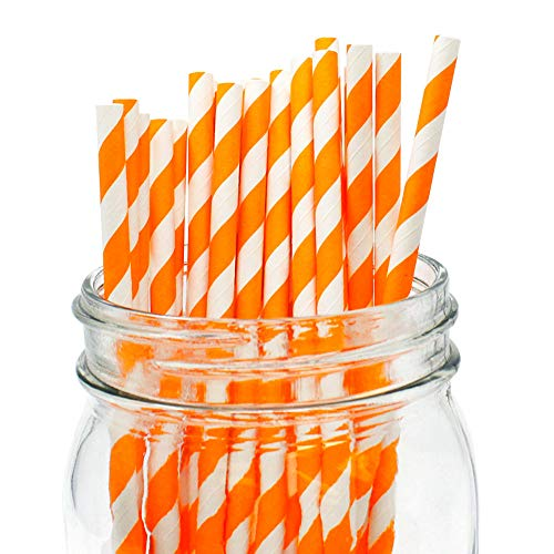 Just Artifacts Decorative Striped Paper Straws (100pcs, Striped, Orange)