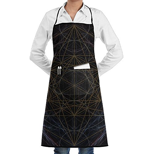 Kitchen Bib Apron Neck Waist Tie Center Kangaroo Pocket Geometry Pattern Waterproof
