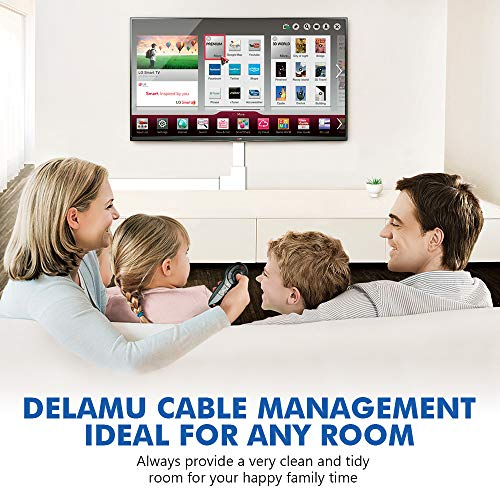 314'' Cable Management Channel, Cord Covers Raceway Kit, Paintable Cord Concealer System Covers Cables, Cord Wires, Hiding Wall Mount TV Power Cords in Home Office, 20X L15.7in X W0.95in X H0.55in by Delamu (Image #6)
