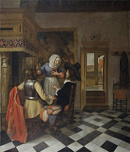 The Polyster Canvas Of Oil Painting 'Hendrik Van Der Burgh (attributed To) - Drinkers Before The Fireplace, C. 1660' ,size: 18x21 Inch / 46x54 Cm ,this High Resolution Art Decorative Canvas Prints Is Fit For Bedroom Gallery Art And Home Artwork And Gifts by RichardGallery