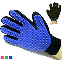 Mr. Peanut's Han-D Glove Pet Grooming Brush & Deshedding Tool, For Long and Short Hair Grooming of Dogs, Horses, Bunnies & Some Agreeable Cats, Pet Massage & Bathing Brush & Comb (Blue)