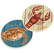 Absorbent Ceramic Car Coasters 2.75 Inches Sea Turtle and Lobster