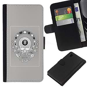 Be-Star la tarjeta de Crédito Slots PU Funda de cuero Monedero caso cubierta de piel Para Sony Xperia Z1 L39 ( Magic 8 Skull Casino Gambling Grey )