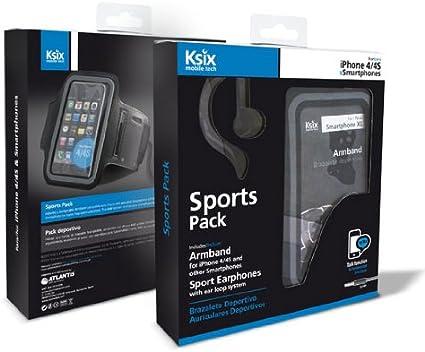 Ksix BXPACKSPS - Pack deportivo de auriculares y brazalete deportivo para smartphone, negro: Amazon.es: Electrónica