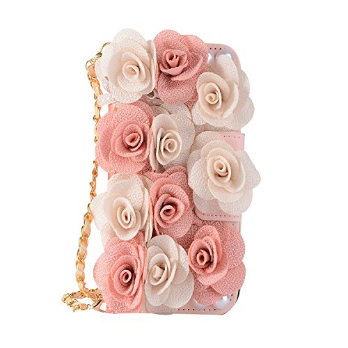 iPhone 8 Women Case with Strap, iPhone 7 Case, DMaos Luxurious 3D Flower Ball Magnetic Flip Leather Wallet Cover Handbag with Chain Design, Premium for iPhone8 iPhone7 4.7 Inch (Pink White Rose)