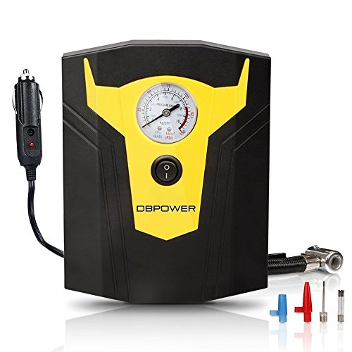 DBPOWER 12V DC Portable Electric Auto Air Compressor Pump to 150 PSI, Tire Inflator with Gauge, 3 High-air Flow Nozzles & Adaptors for Cars, Bicycles and Basketballs (Black and Yellow)
