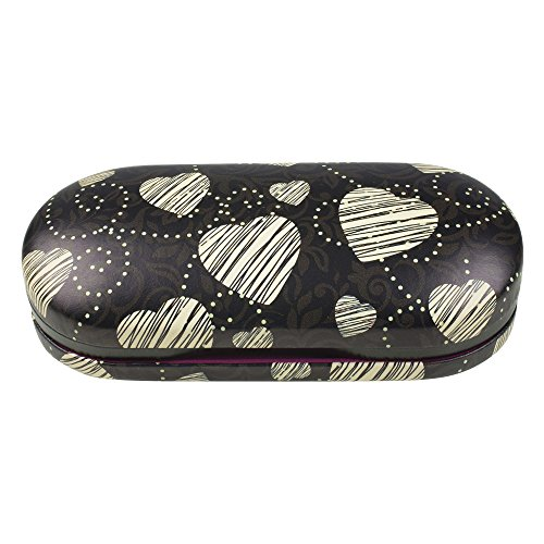 OptiPlix Dual Glasses Case for Two Frames - Double Layer Clamshell Hard Protective Case with Soft Felt Interior with Built-In Mirror - Black with Tan Hearts Print and Matte Finish - By