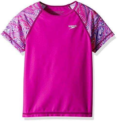 Speedo Girls Short Sleeve Print Rashguard, Very Fuchsia, X-Small