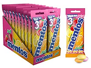 Mentos Fruit Candy Roll 3 Pack, 20 x 3 Roll Packs (112.5 g per 3-pack)